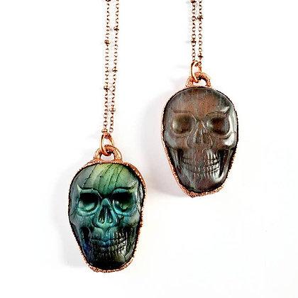 Carved Labradorite Skull Necklace