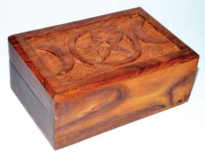 Triple Moon Pentacle Wood Box