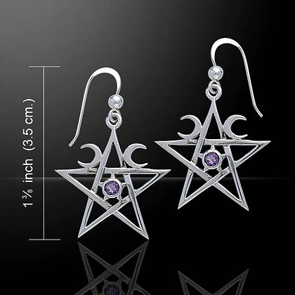 Silver Pentagram & Moon Earrings with Gemstone Detail