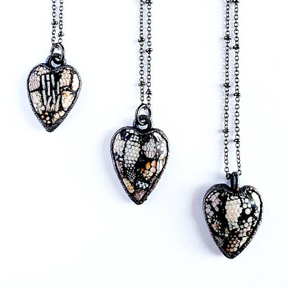 Snakeskin Agate Heart Necklace