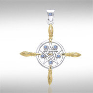 Broomstick Pendant in Sterling Silver and Vermeil with Moonstone Accents