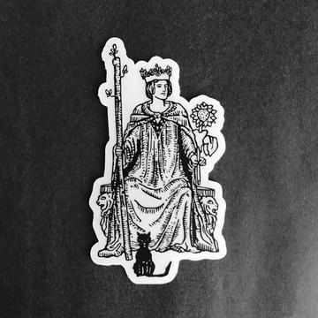 Vinyl Sticker - Queen of Wands Tarot Card