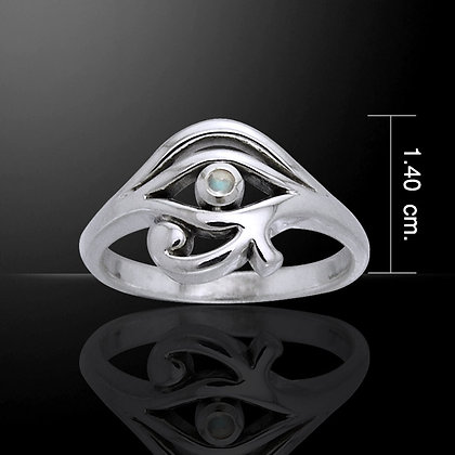 Sterling Silver Eye of Horus Ring with Gemstone Detail