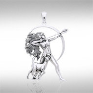 Diana, The Huntress Pendant in Sterling Silver