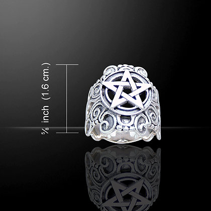 Sterling Silver Pentacle Ring with Scrollwork Detail