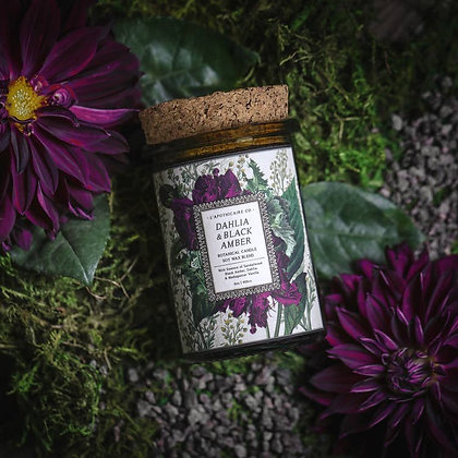 Botanica: Dahlia & Black Amber Candle