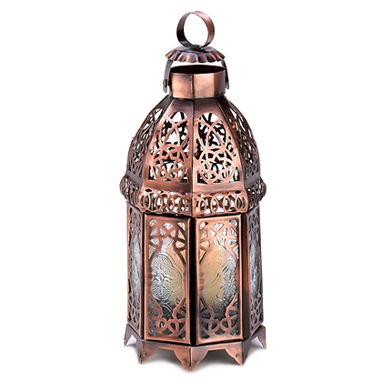 Copper & Clear Glass Morrocan-Style Glass Lantern