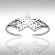 Silver Pentagram Bangle in Sterling Silver