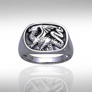 Dragon Signet Ring in Sterling Silver
