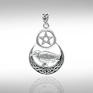 Raven on Crescent Moon with Pentacle in Sterling Silver