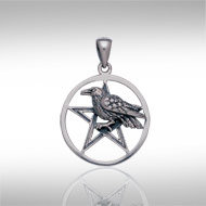 Raven on Pentacle in Sterling Silver