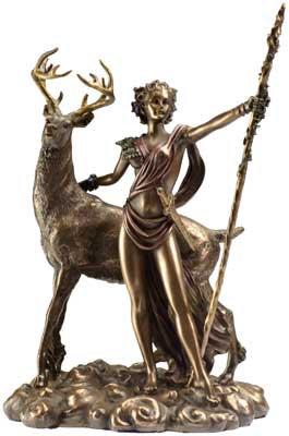 Bronze Finish Diana & Stag Statue