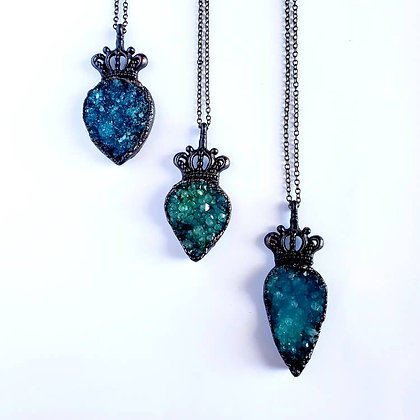 Blue Druzy Quartz Crown Necklace