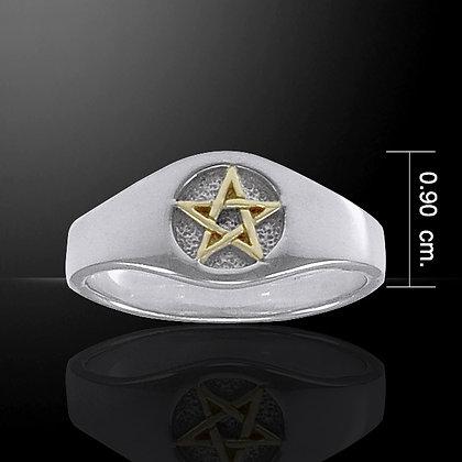 Sterling Silver & Gold Pentagram Ring
