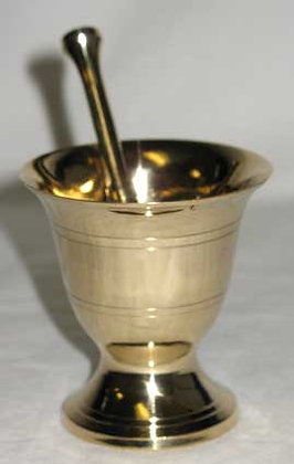 Brass Apothecary Style Mortar & Pestle