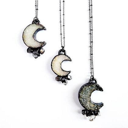 Druzy Crescent Moon Necklace with Herkimer Diamond Starburst