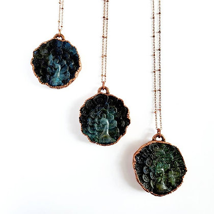 Carved Labradorite Peacock Necklace