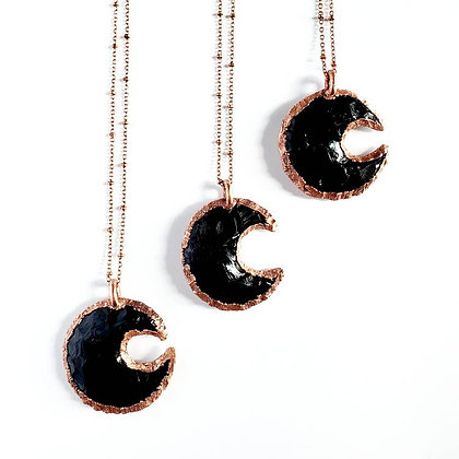 Obsidian Crescent Moon Necklace