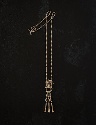 Under-Side Traveler Necklace with Nail-Chain Fringe