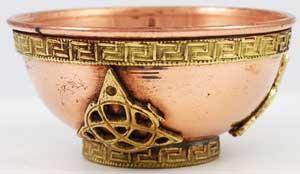 Copper Triquatra Offering Bowl