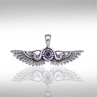 Winged Sun of Thebes Pendant in Sterling Silver with Gemstone Accent
