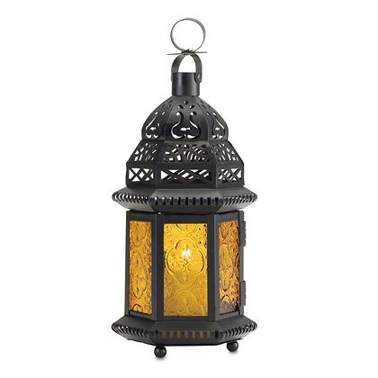 Amber Glass Morrocan-Style Lantern