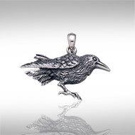 Raven Pendant in Sterling Silver