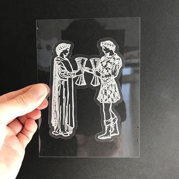 Vinyl Sticker - Two of Cups Tarot Card