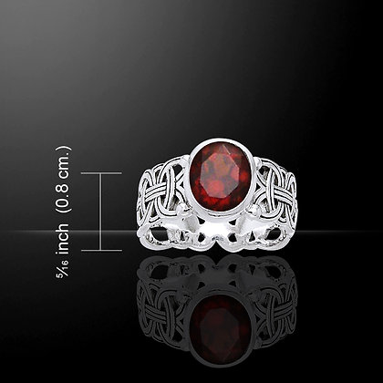 Borre Knot Ring in Sterling Silver with Gemstone Accent