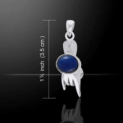 Sterling Silver Mano Cornuto Pendant with Gemstone Detail