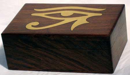 Brass Inlaid Eye of Horus Tarot Card Box