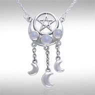 Pentacle with Crescent Moons Necklace in Sterling Silver with Moonstone Accents