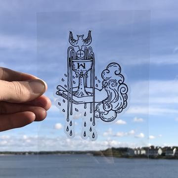 Vinyl Sticker - Ace of Cups Tarot Card