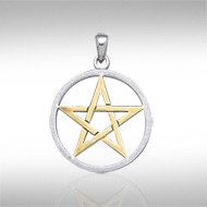 Sterling Silver and 14k Gold Pentacle Pendant