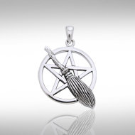 Broom over Pentacle Pendant in Sterling Silver