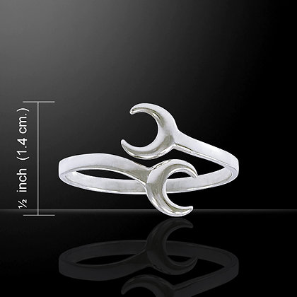 Double Crescent Moon Ring in Sterling Silver