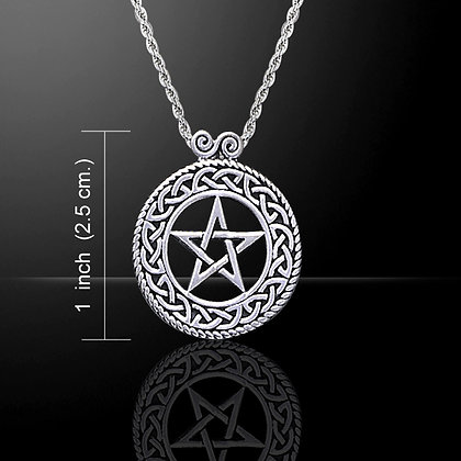 Sterling Silver Knotwork Pentacle with Decorative Bail