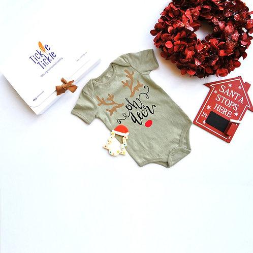 Tickle's Oh Deer Christmas Organic Bodysuit and Teether Set
