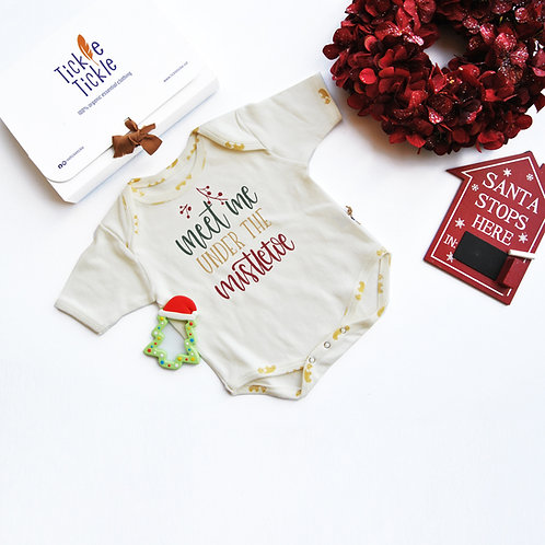 Lil Tickle's Mistletoe Organic Bodysuit and Teether Set