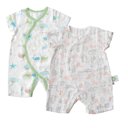 Lil Tickle Muslin Rompers-Value Pack of 2