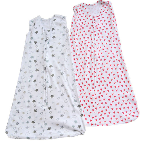 Nap a Lil Value Pack Organic Cotton Sleeping Bag -Starry Night/Hearts