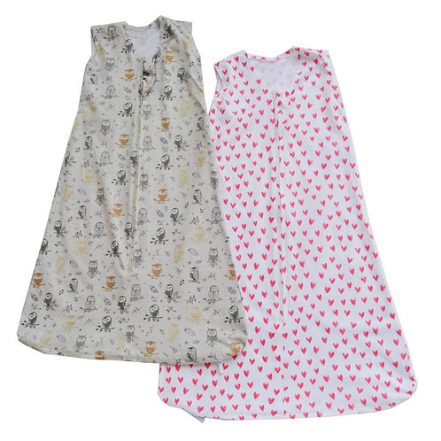 Nap a Lil Value Pack Organic Cotton Sleeping Bag -Hearts/Owlette
