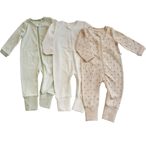 Natures Tickle Organic Zipup Sleepsuits Value Pack-3