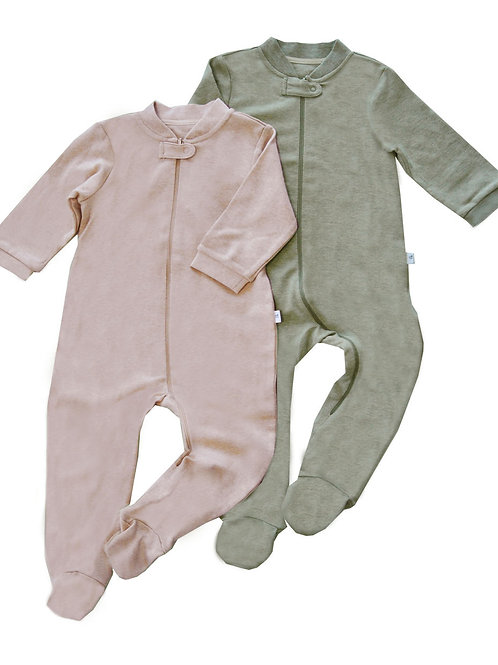 Natures Love Footed Sleepsuits -  Value Pack of 2