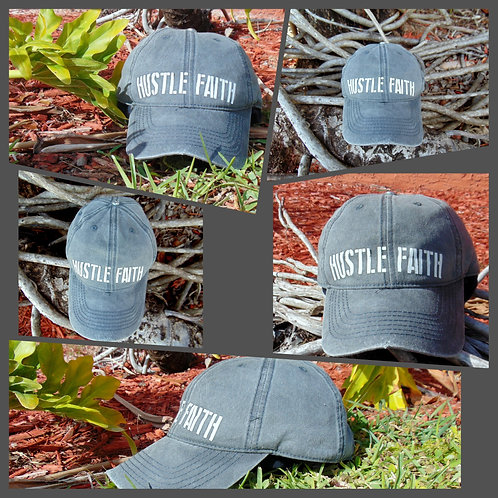 Hustle Faith Denim Distressed Hat