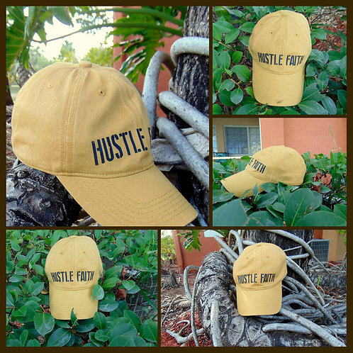 Mustard Hustle Faith Distressed Hat