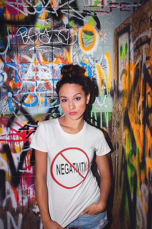NO NEGATIVITY WHITE AND RED TEE