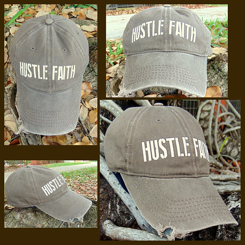 Hustle Faith Gray Distressed Hat