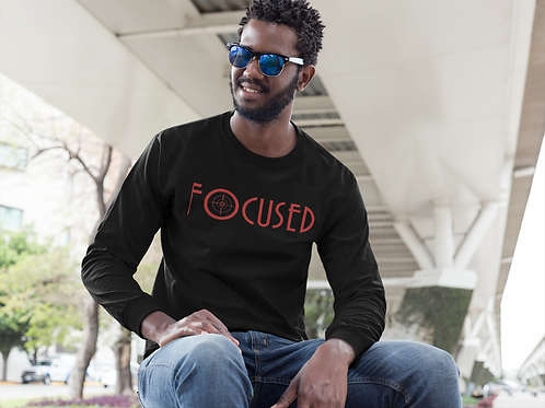 FOCUSED BLACK AND RED LONG SLEEVES TEE - UNISEX