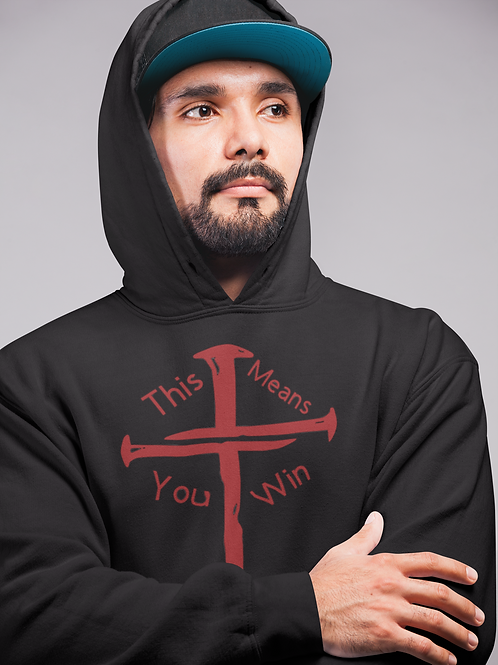 THIS MEANS YOU WIN BLACK AND RED HOODIE - UNISEX